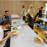 Eating in the cafeteria